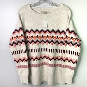 LOFT Beige Chevron Knit Sweater M C-82 NWT